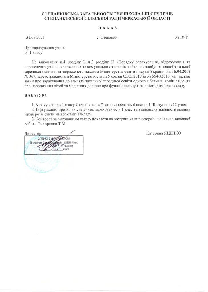 Наказ № У від 31.05.2021 про зарахування учнів до 1 класу